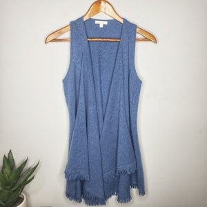 Minnie Rose Cashmere Fringe Vest in Blue